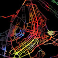 Brasilia Brazil City Street Map Watercolor Dark Mode by Design Turnpike