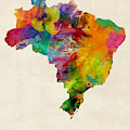 Brazil Watercolor Map Custom Heart by Michael Tompsett