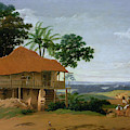 Brazilian Landscape With A Worker   S House  by Frans Post