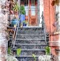 Brick Townhouse Walkup Watercolor by Edward Fielding