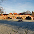 bridge over river Tyne in Haddington in winter by Victor Lord Denovan