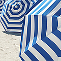Bright Blue And White Striped Beach by Peskymonkey