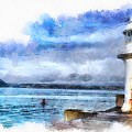 Brixham Lighthouse And Sea by Seascape Arts