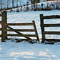 Broken Fence In The Snow At Sunset by Victor Lord Denovan