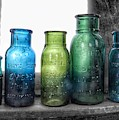 Bromo Seltzer Vintage Glass Bottles Collection - Rare Green And Blue #8 by Marianna Mills