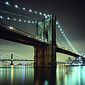 Brooklyn Bridge At Night, New York City by Andrew C Mace