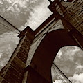 Brooklyn Bridge - New York City 5 Sepia by Frank Romeo