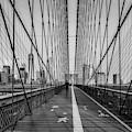 Brooklyn Bridge Nyc Skyline Bw by Susan Candelario