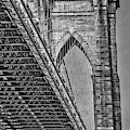 Brooklyn Bridge Over And Under Bw by Susan Candelario