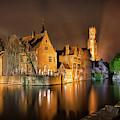 Brugge Belgium Belfry Night by Nathan Bush