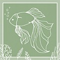 Bubbly Fish In Seagrass Green by Patricia Strand