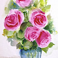 Bunch Of Five Pink Roses by Asha Sudhaker Shenoy