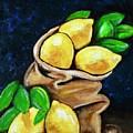 Burlap Bag Of Lemons by Jacqueline Athmann