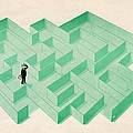 Businessman Trapped In Maze by Graphicaartis