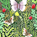 Butterflies In The Millefleurs by Lise Winne