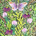 Butterfly In The Millefleurs by Lise Winne
