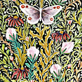 Butterfly Tapestry Design In Mustard, Red And Green by Lise Winne