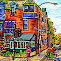 Cafe Santropol Corner Rue Duluth At St Urbain Montreal Cityscene Painting C Spandau Canadian Artist by Carole Spandau