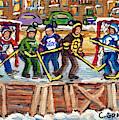 Calgary Flames Ottawa Sens Toronto Leafs Canadiens Oilers Boston Bruins Hockey Art Outdoor Rinks by Carole Spandau