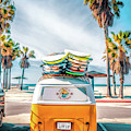 California Surfer Vw Camper Van by Christopher Arndt