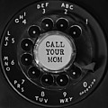 Call Your Mom Vintage Phone Dial Square by Terry DeLuco