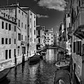 Canals Of Venice 002 Bw by Lance Vaughn