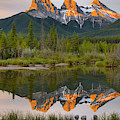 Canmore Alberta Three Sisters Sunrise by Adam Jewell