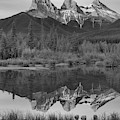 Canmore Alberta Three Sisters Sunrise Black And White by Adam Jewell