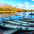Canoes At Sunset by Debra and Dave Vanderlaan
