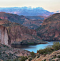 Canyon Lake And Four Peaks Panorama 2 by Dave Dilli