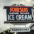 Cape Cod Four Seas Home Made Ice Cream Neon Sign by Edward Fielding