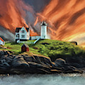 Cape Neddick Nubble Lighthouse by Lois Bryan
