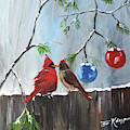 Cardinals-dressed In Holiday Style by Jan Dappen