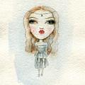 Cartoon Cute Child Girl  . Watercolor by Anna Ismagilova