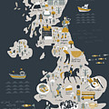 Cartoon Map Of United Kingdom With by Lavandaart