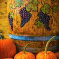 Carved Wine Barrel And Pumpkins by Garry Gay
