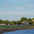 Castle Island Beach Pleasure Bay Boston Ma Plane Landing by Toby McGuire