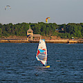 Castle Island Windsurfer Pleasure Bay Boston Ma by Toby McGuire