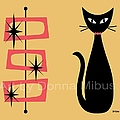 Cat With Mid Century Rectangles On Yellow by Donna Mibus
