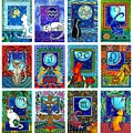 Cat Zodiac Paintings  by Dora Hathazi Mendes