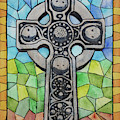 Celtic Cross In Stained Glass by Ralph F Wilson