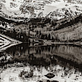 Center Panel 2 Of 3 - Panoramic Maroon Bells Sepia Mountain Landscape by Gregory Ballos