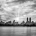 Central Park Lake Nyc Skyline Bw by Susan Candelario