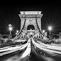 Chain Bridge At Night In Budapest by Delphimages Photo Creations