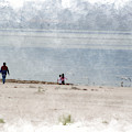 Chasing Seagulls At The Salton Sea In Digital Watercolor by Colleen Cornelius