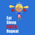 Cheerleader And Pom Poms With Text Eat Sleep Cheer by Barefoot Bodeez Art