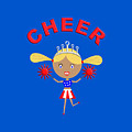 Cheerleader With Pom Poms And Cheer In Arched Text  by Barefoot Bodeez Art