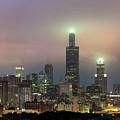 Chicago City Skyline Architecture With Cloudy Skies by Gregory Ballos