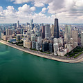 Chicago Gold Coast Aerial Panoramic by Adam Romanowicz
