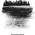 Chicago Skyline Brush Stroke Black by Naxart Studio